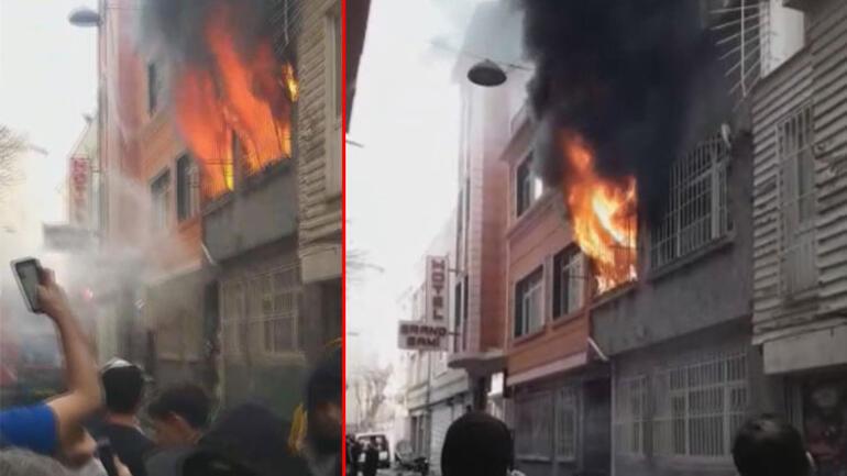 Fatihte korkunç yangın İlk önce camlar patladı ardından patlama oldu